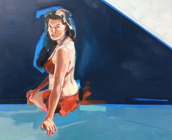<p>Clare Bonnet, <em>'Pool Side'</em>, Oil on panel, H 100 cm x 100 cm</p>