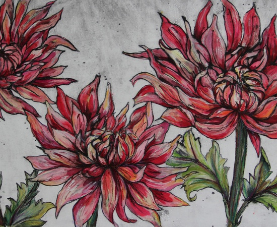 <p>Vicky Oldfield, <em>Dancing Dahlias</em>, collagraph print</p>