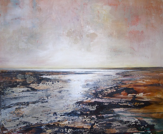 <p>Peter Kettle, 'Gwendraeth Estuary 2'</p><p>Plaster, oil, acrylic, ink on canvas</p><p>100cm&#160;x 100cm</p>