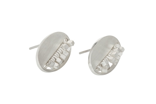 Oval Furrow Studs, Silver