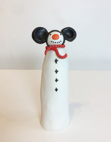 Snowman with mouse ears
