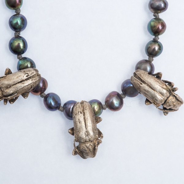 Lucy Jade Sylvester - Beetle and Pearl necklace with twig clasp