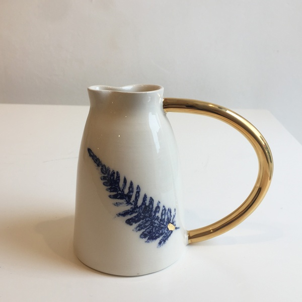 Fliff Carr - Jug with blue leaf and gold splash