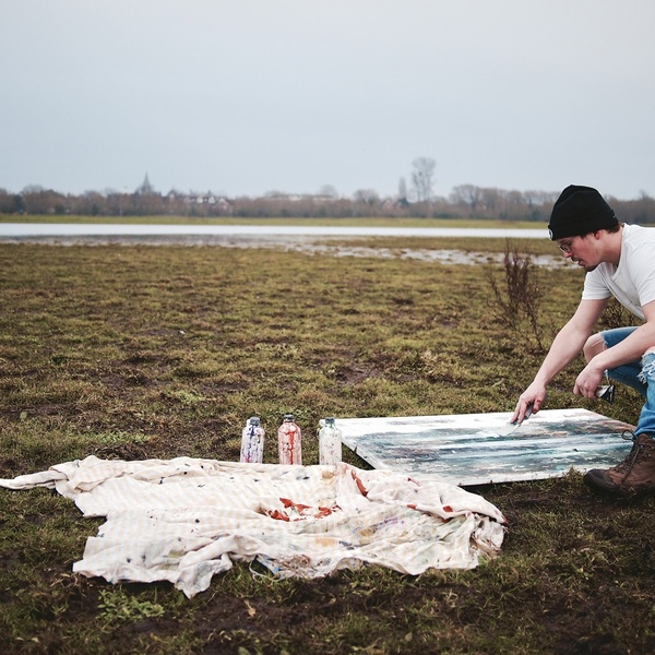 Peter Kettle at work, Port Meadow