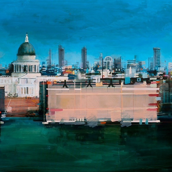 Christopher Farrell, 'St Pauls from the Tate', acrylic on canvas