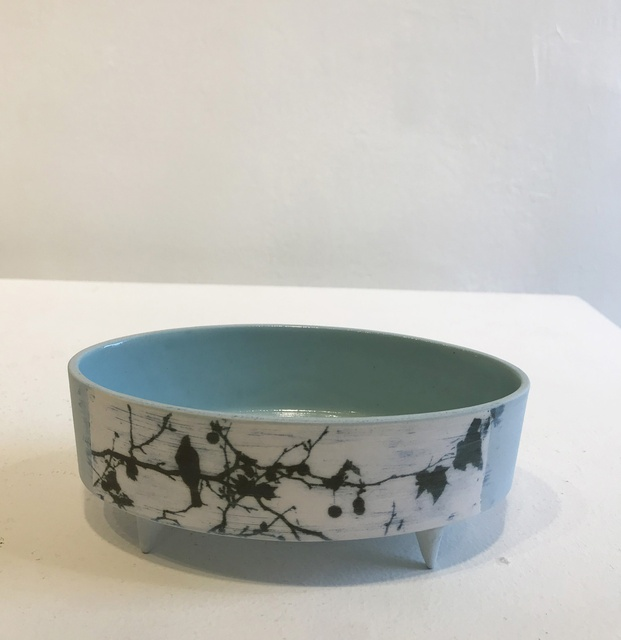 Birds In the Trees - Low Oval Vessel with feet, 2018