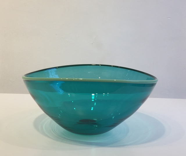 Large Spruce Green Bowl with Mint Green Rim