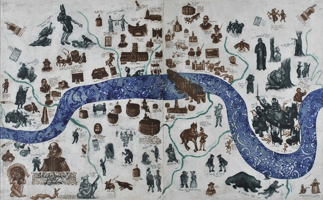 Mychael Barratt, 'A Map of Shakespeare's London, Etching